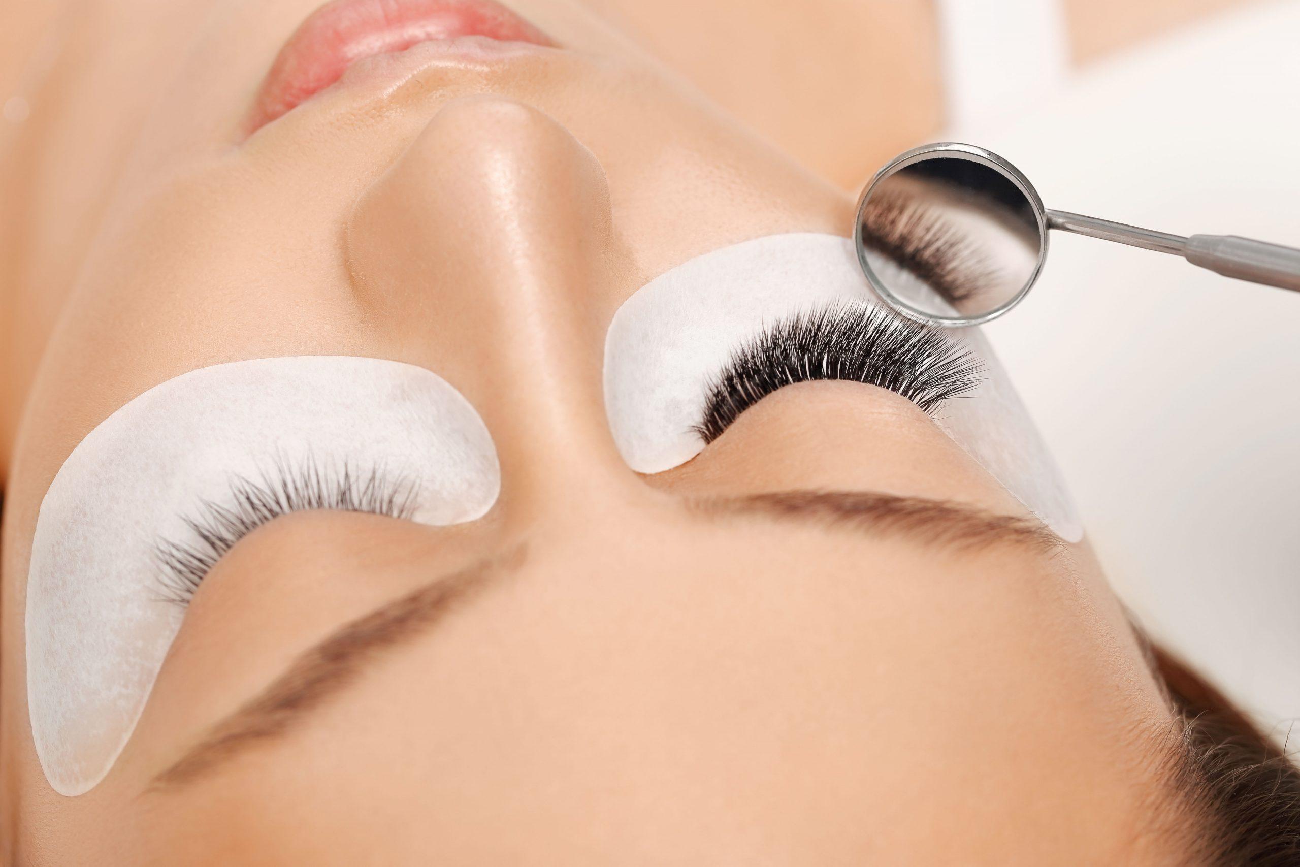 Eyelashes,Extensions.,Fake,Eyelashes.,Eyelash,Extension,Procedure.close,Up,Portrait,Of